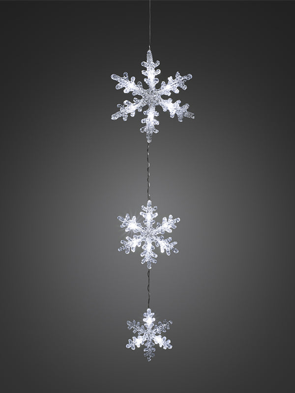 Set of 3 Acrylic LED Snowflakes - White