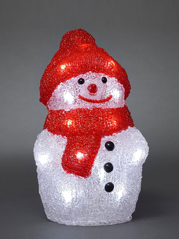 22cm LED Acrylic Snowman with Cap