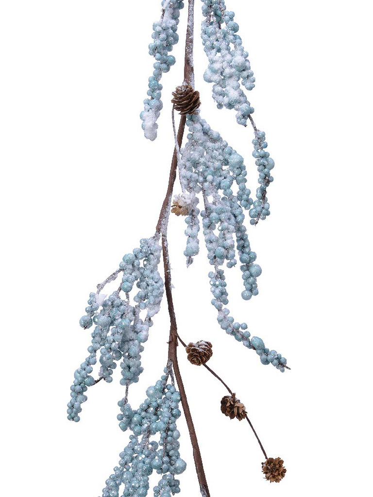 1.2m Foam Berry Garland with Pinecones In Snow Finish