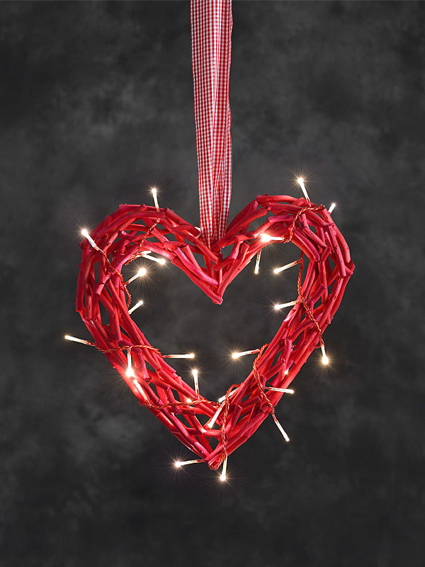 32cm LED Heart of Twigs - Red