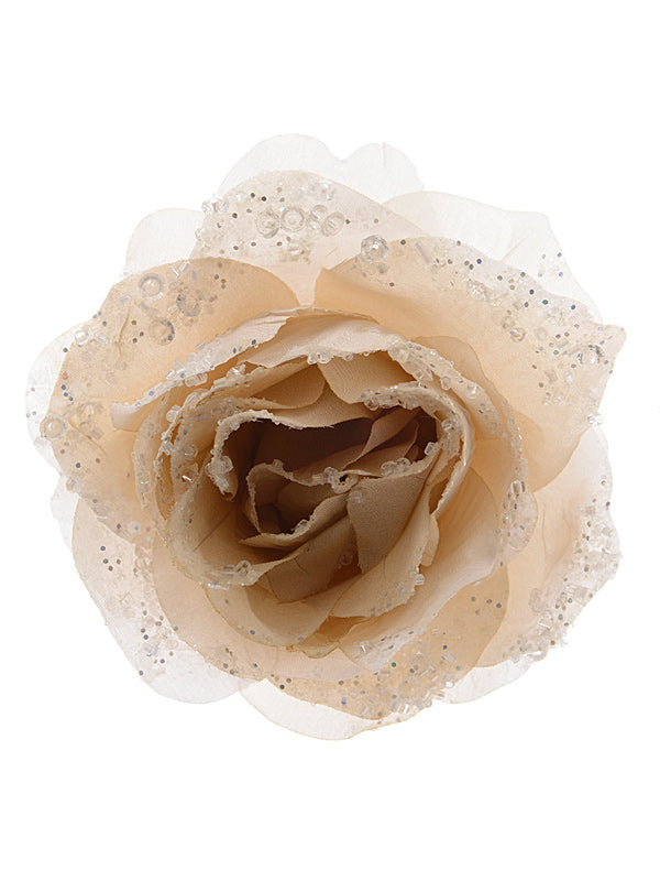14cm Rose On Clip with Glitter - Cream