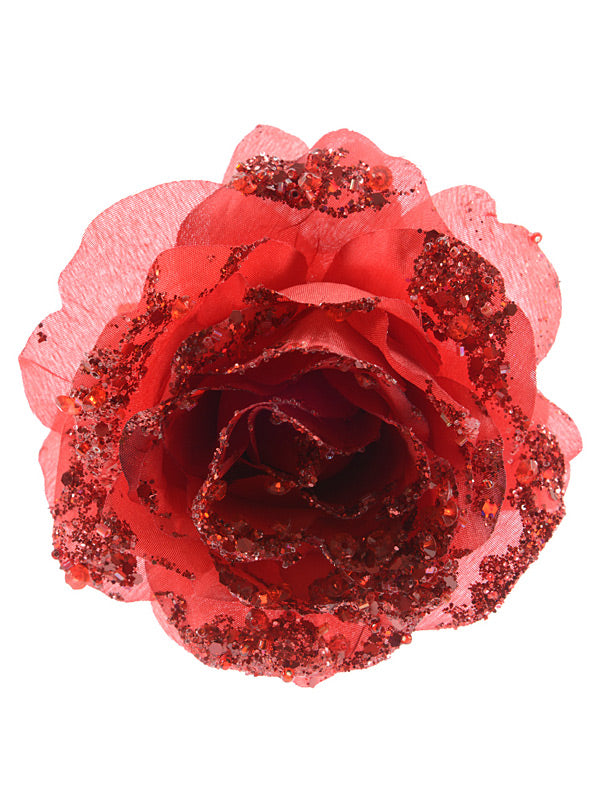 14cm Clip On Rose - Christmas Red