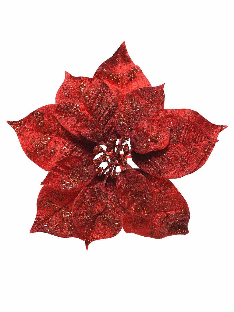 26cm Poinsettia On Clip with Glitter - Red