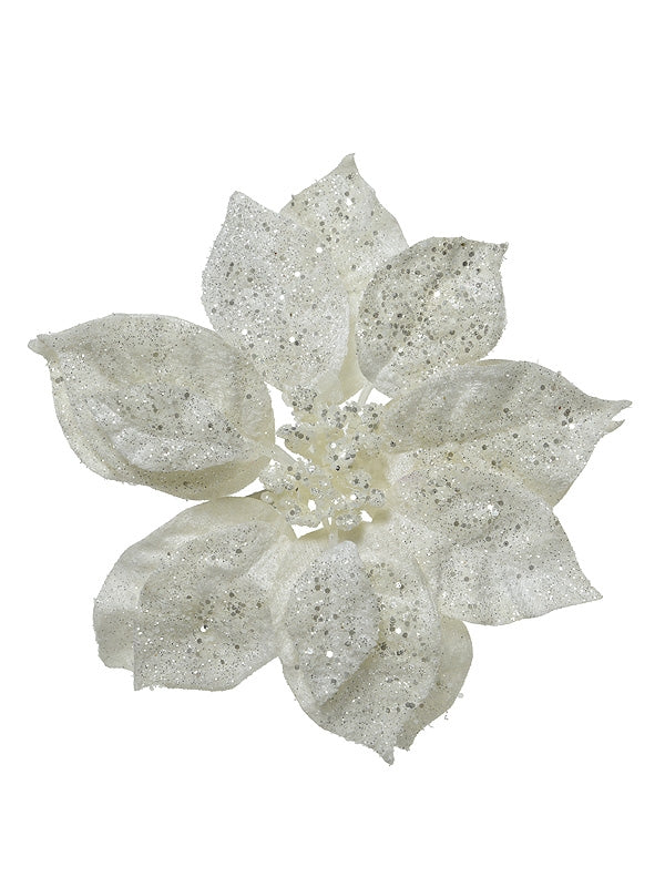 16cm Poinsettia On Clip With Glitter - White