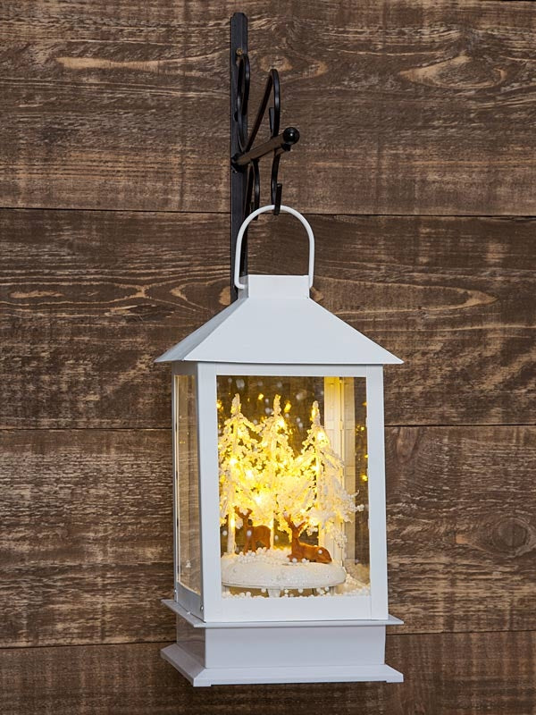 40cm White Snowing Lantern with Sitting Reindeer