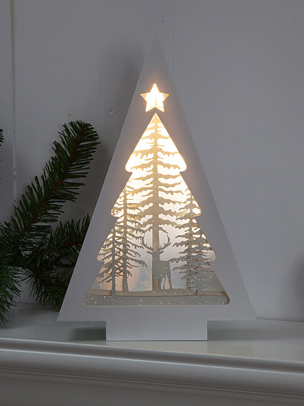 Battery Operated Holographic Christmas Tree Scene