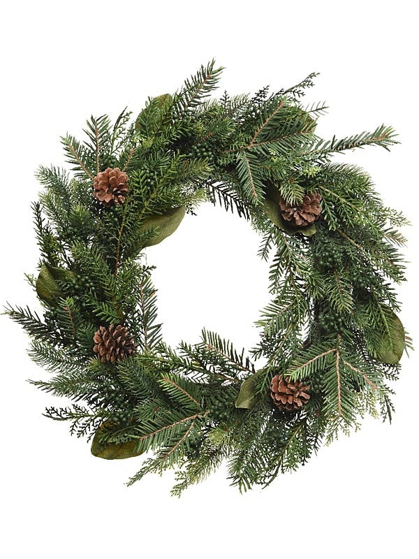 60cm Natural Green Wreath With Pinecones