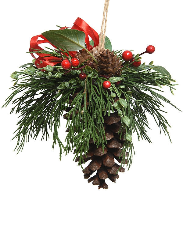 20cm Pincone Hanger With Leaves And Berries