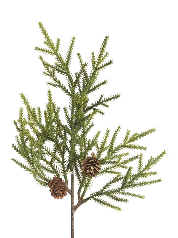 38cm PE Branch With Pinecones