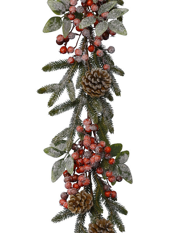 1.8M (6ft) Christmas Garland with Berries, Snow & Pinecones