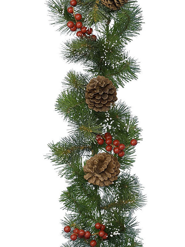 2.7M (9ft) Christmas Garland with Berries & Pinecones