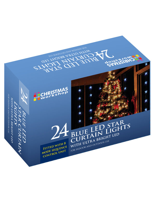 24 LED Star Curtain Christmas Lights - Blue