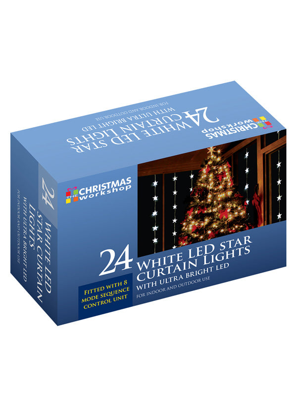 24 LED Star Curtain Christmas Lights - White