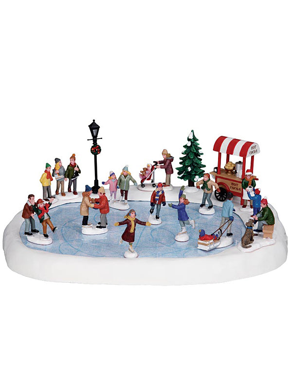 Set of 8 People Skating on the Pond with 4.5V Adaptor