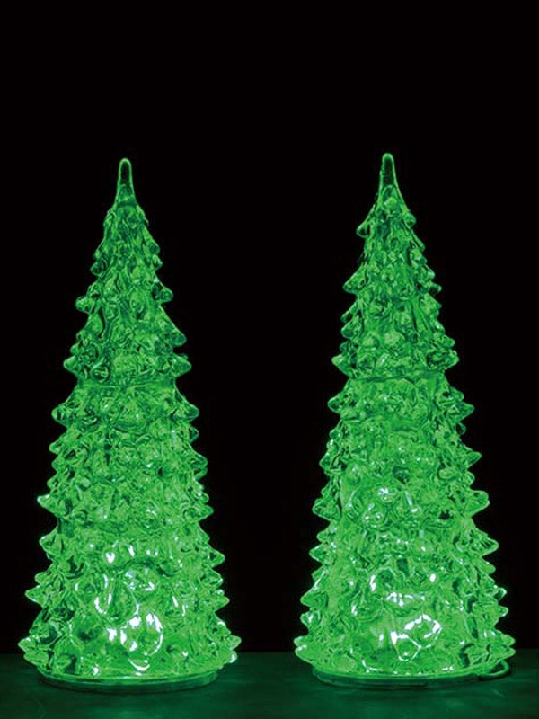 Set of 2 Colour Changing Crystal Lighted Tree, Medium, B/O (4.5V)