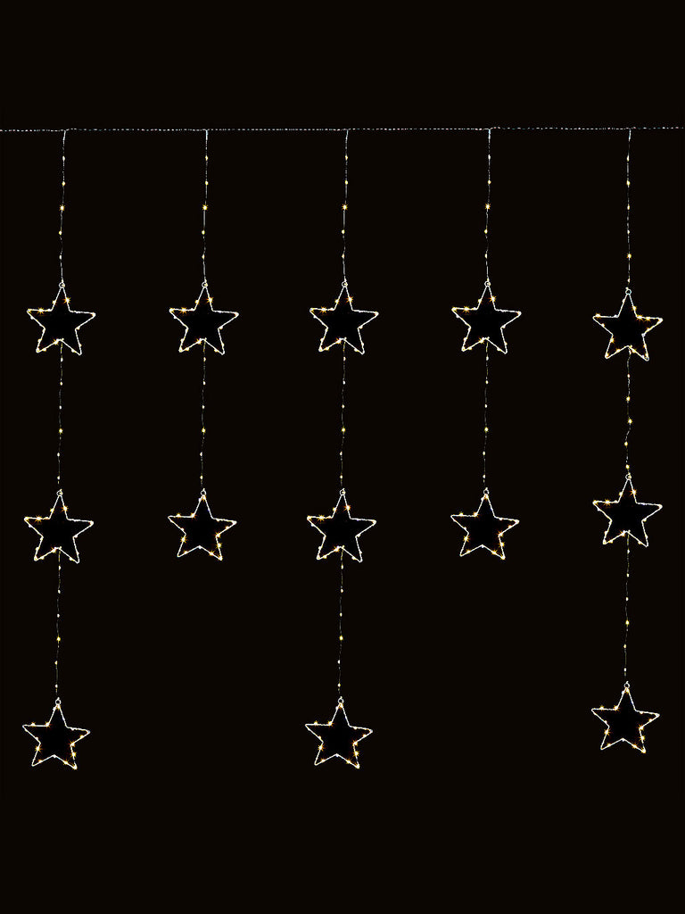 1.2 x 1.4M Star Pin Wire Curtain Flashing with 312 Warm White LEDs