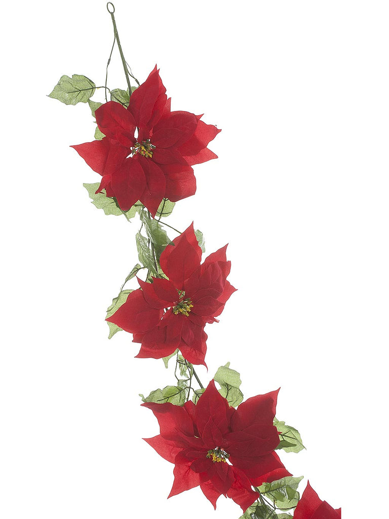 180cm Red Poinsettia Garland with Green Leaves