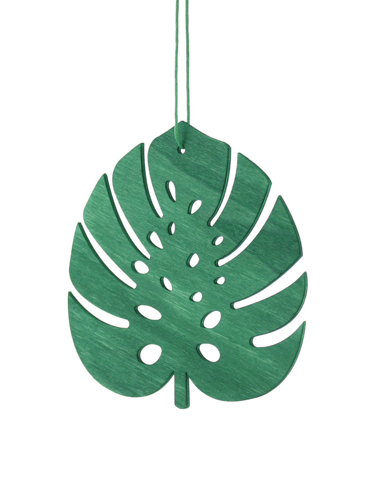 10cm Wooden Tropical Leaf Tree Dec - Green