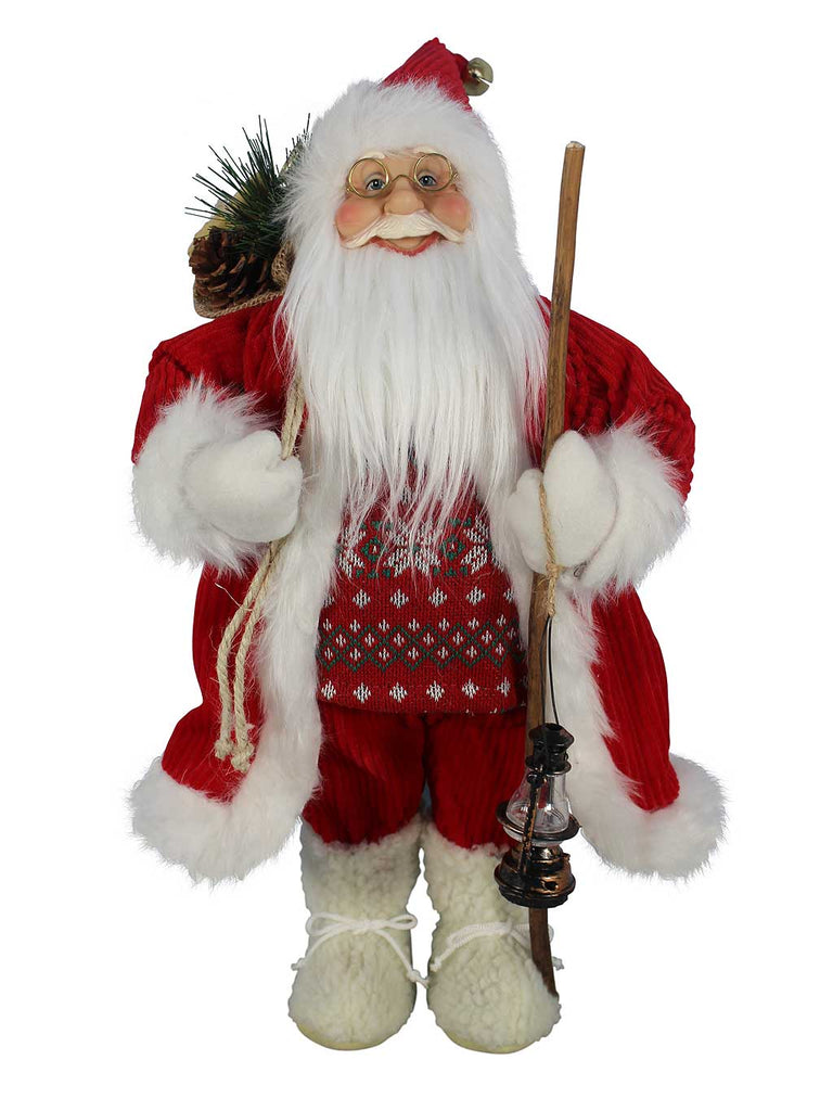 Traditional Standing Santa with Fair Isle Print Jumper