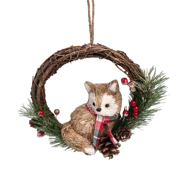 22cm Natural Brown Wreath with Fox