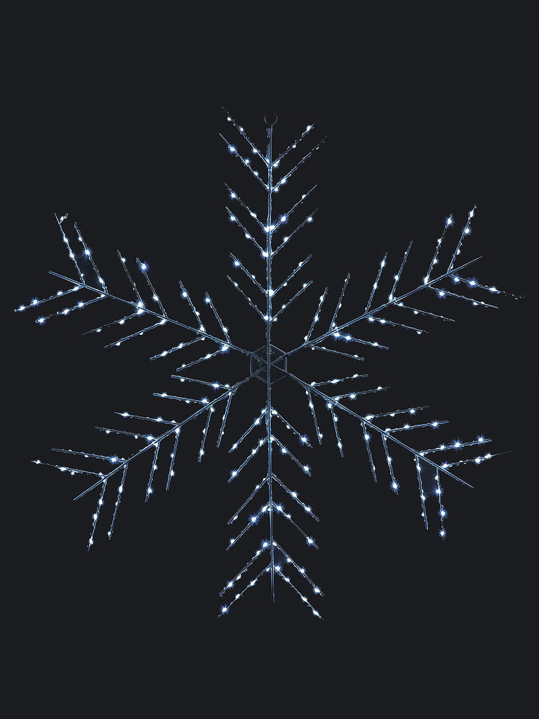 75cm Snowflake with 240 Ice White Copper Wire Chaser LEDs