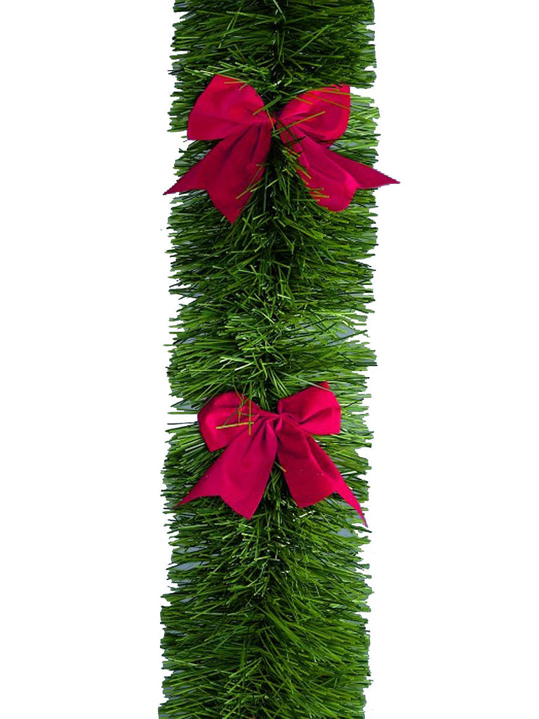 2.7M x 20cm 6-Ply Green Tinsel with Red Bows