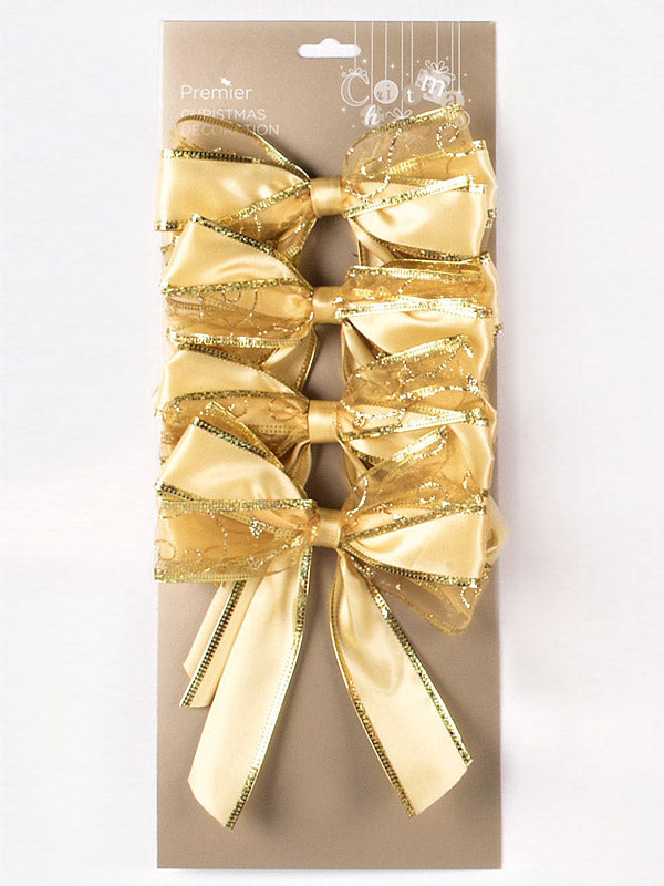 4 x 15cm Sheer Printed Christmas Bows Gold