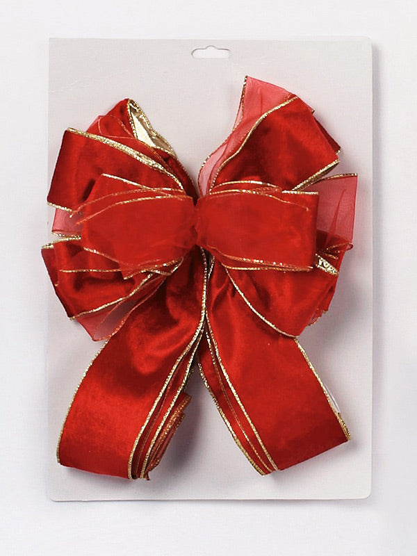 1.2M Red Velvet & Sheer Tree Bow With Long Tails