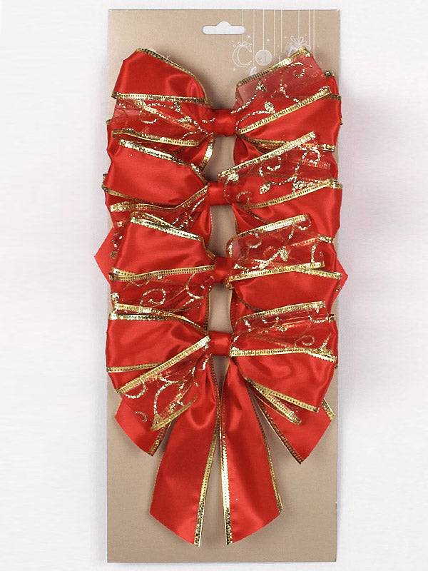 4 x 15cm Sheer Printed Bows Red and Gold Mix