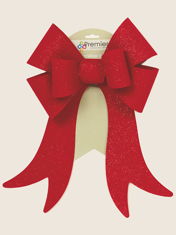 46cm x 30cm PVC Red Velvet Bow with Red Glitter