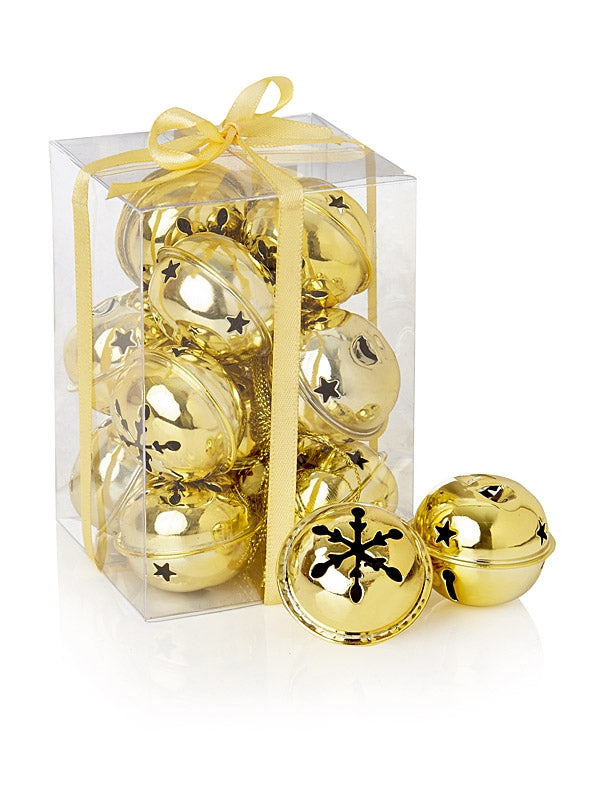 12 x 4cm Jingle Bells in Box - Gold