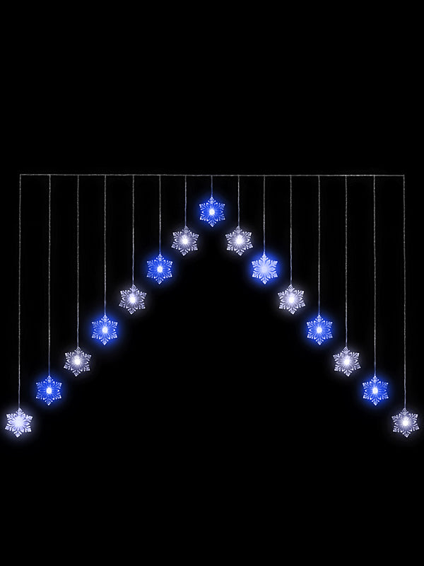 1.2M LED Snowflake 'V' Christmas Curtain Light - Blue & White