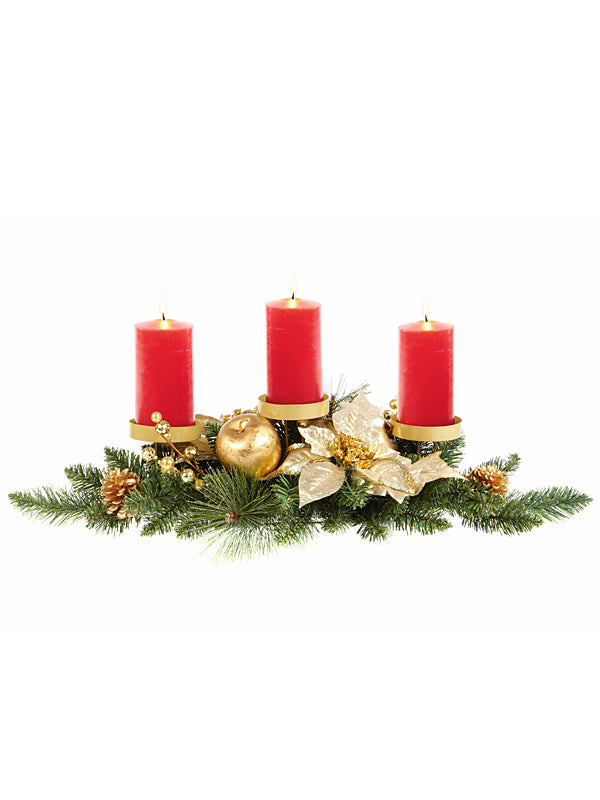 71cm Gold Poinsettia Candle Holder with Gold Baubles