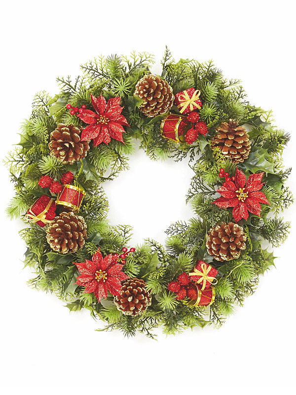 45cm Christmas Wreath With Drum Parcels - Red-Gold
