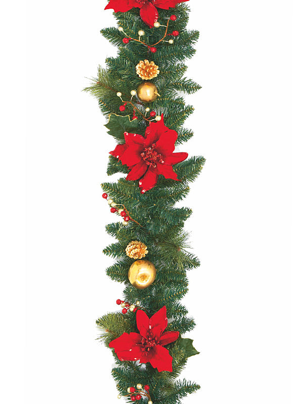 1.8M (6ft) Poinsettia Christmas Garland Red Gold