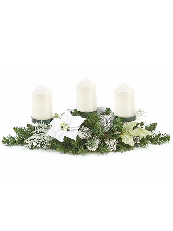71cm Poinsettia Centrepiece white Three Candle Holder