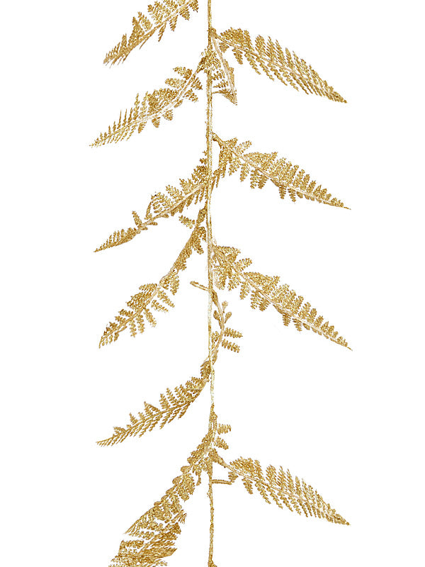1.8M (6ft) Glitter Fern Leaf Garland - Gold
