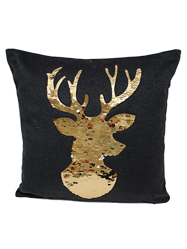 """Sequin Stag"" Christmas Cushion"