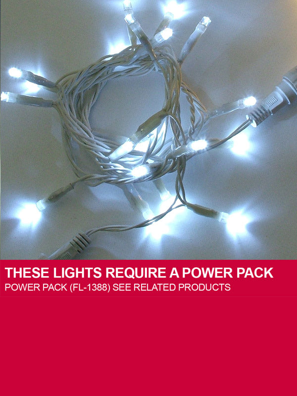 60 LED Connectable String Christmas Lights - White with White Cable