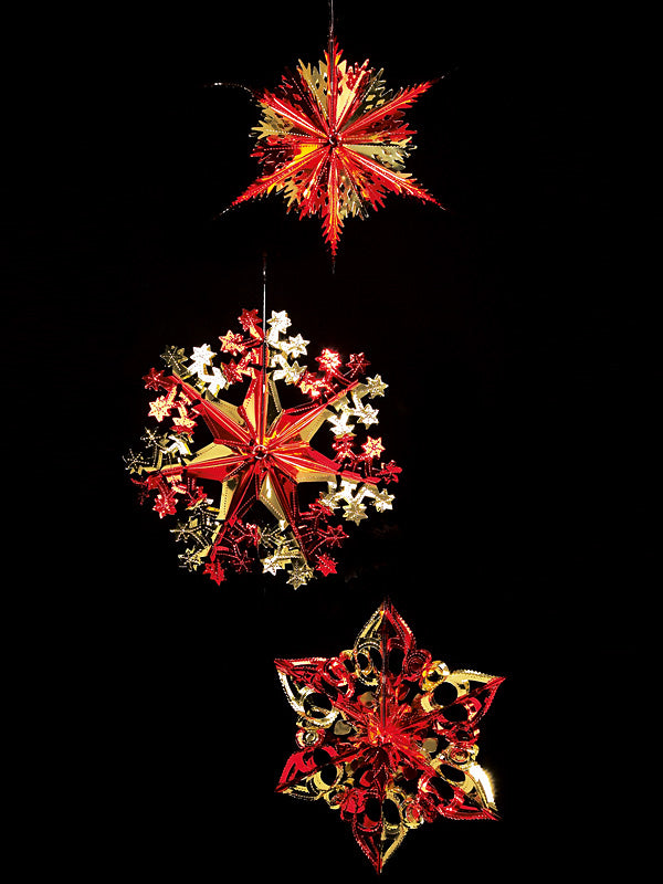 40cm Foil Starburst Christmas Decoration - Red & Gold