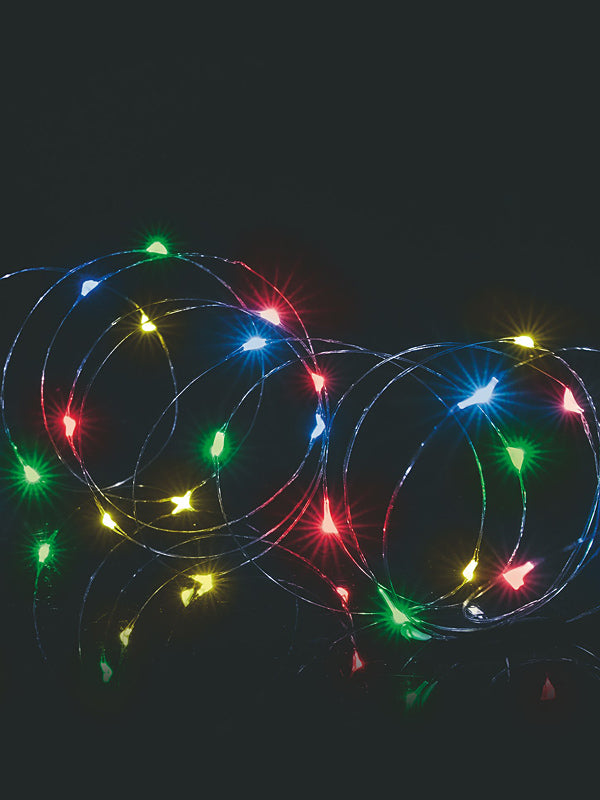 50 LED Battery Operated Multi-Action Pin Wire Christmas Lights - Multi-colour