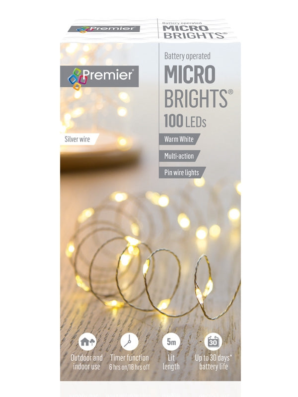 100 LED Battery Operated Multi-Action Microbrights with Timer - Warm White
