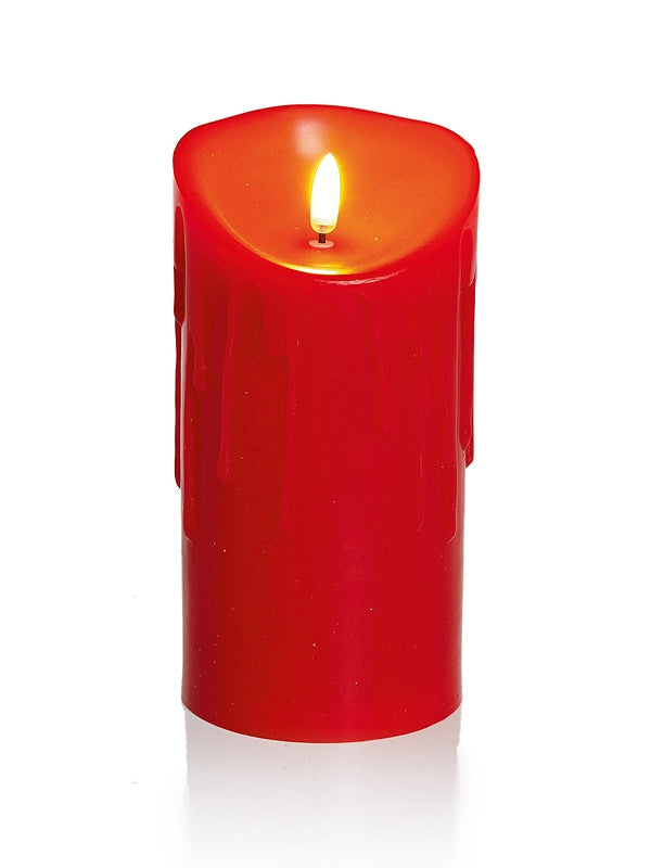 18 x 9cm Melted Edge Flickabright Candle Red w-Timer
