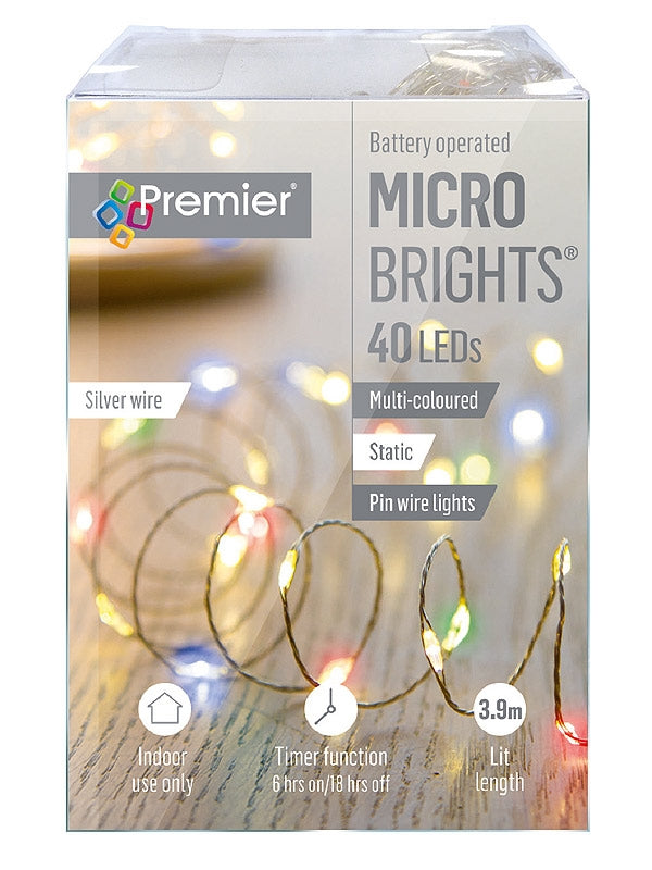 40 Battery Operated Static Microbrights w-Timer - Multi LED