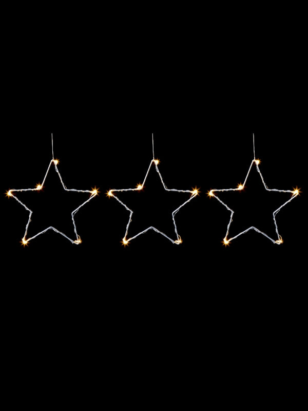 Set of 3 Star Light String with 18 Warm White LEDs