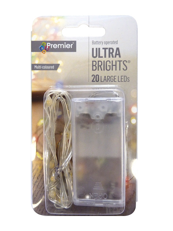 20 Battery Operated Indoor Pin Wire Lights - Multi LED