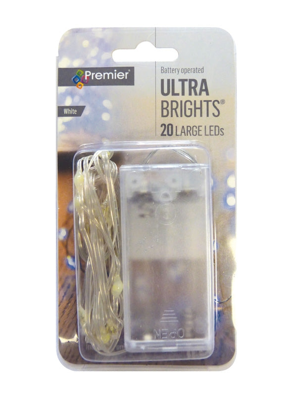 20 Battery Operated Indoor Pin Wire Lights - White LED