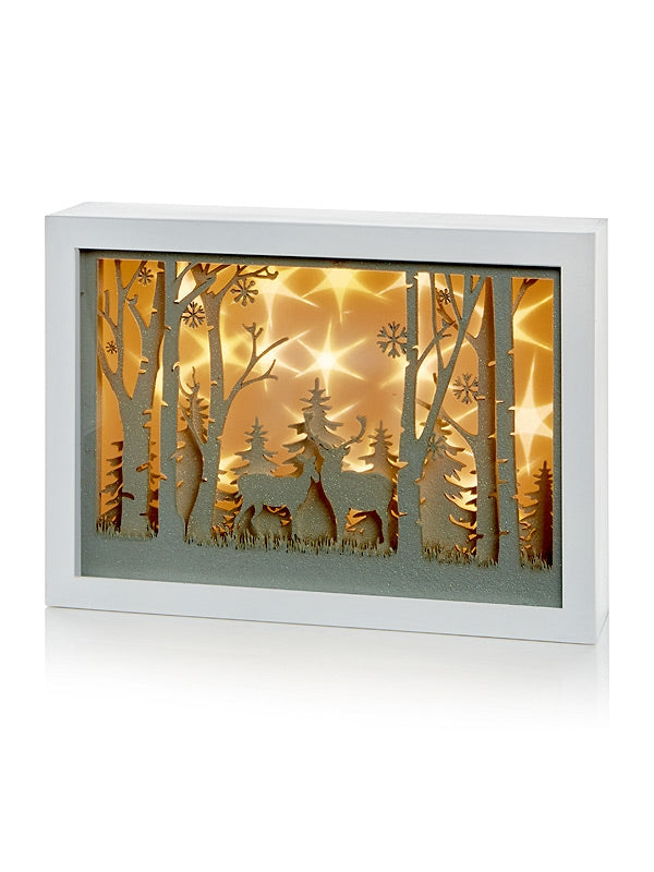 30cm Musical Diorama with Reindeer Scene & Led Stars