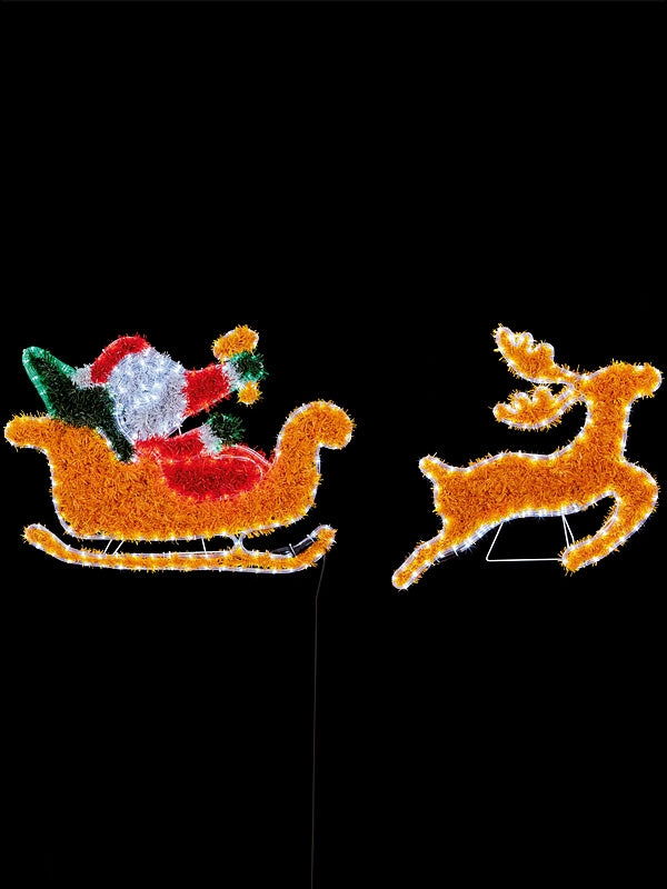 380 x 58cm Santa in Sleigh & 4 Reindeers Silhouette with 576 Multi Leds
