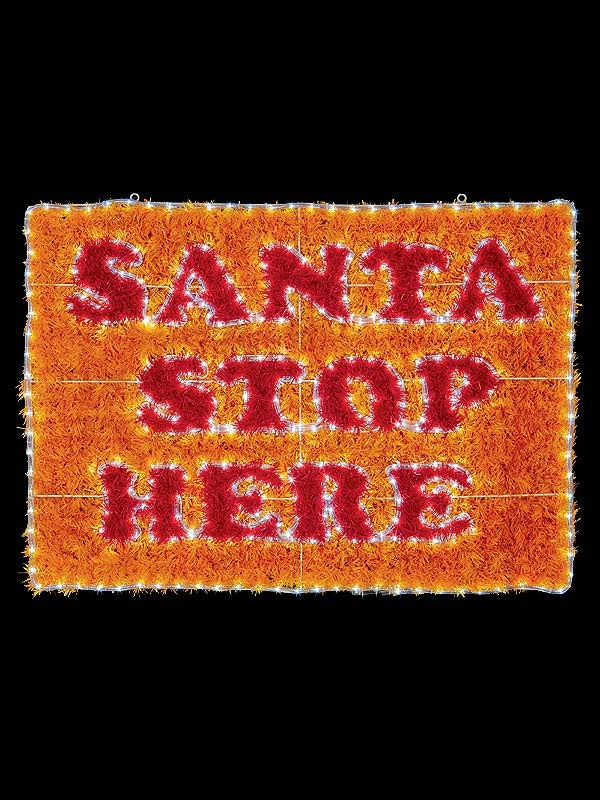 110 x 80cm Santa Stop Here Rope Light Sign with 372 White LEDs